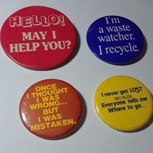 Vintage Humorous Sayings Buttons Bundle